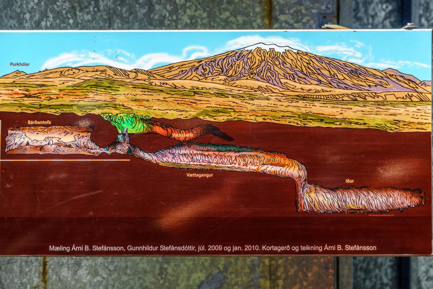 Vatnhellir-Höhle: 35m tief, 200m lang und drei begehbare Höhlen