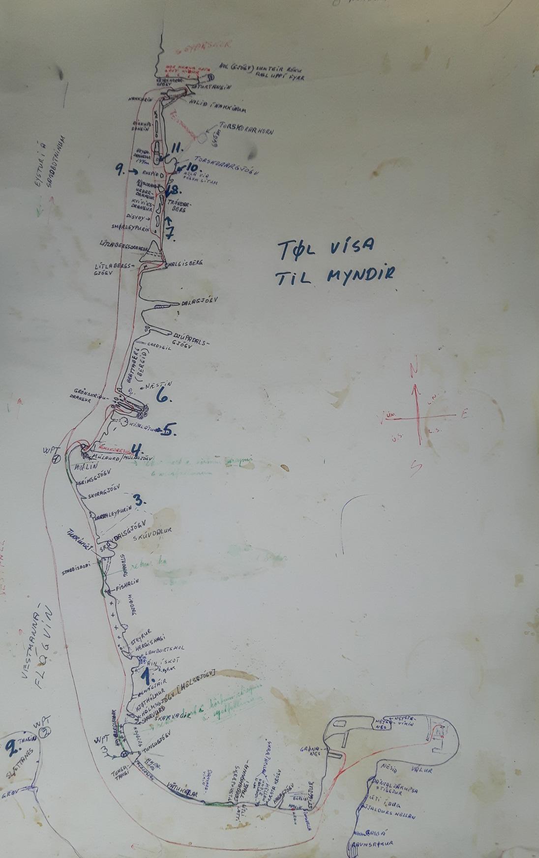 Handgezeichnete Seekarte für die Bootstouren
