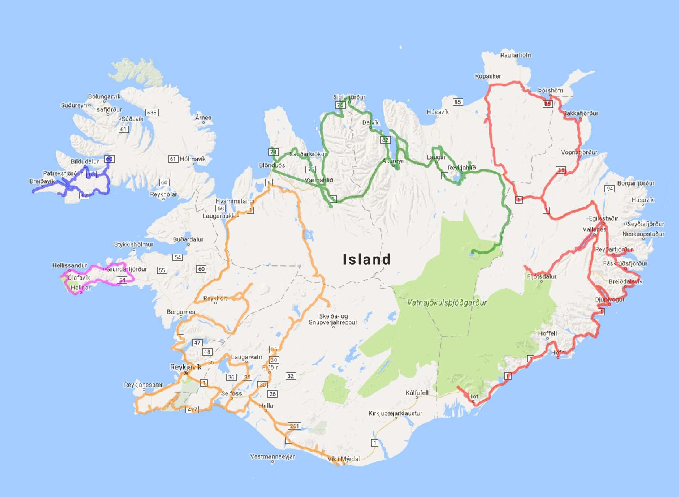Touren mit dem Auto auf Island